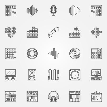 soundwave: Recording studio icons set - vector musical studio symbols in thin line style. Music logo elements