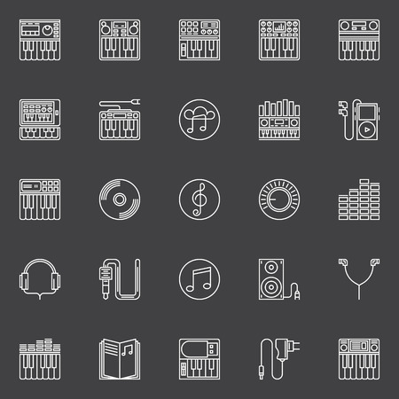 synthesizer: Synthesizer icons set. Vector collection of synthesizer, midi keyboard and other music symbols in thin line style