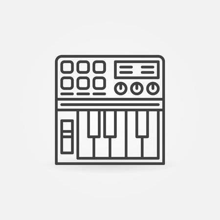 Synthesizer linear icon - vector thin line midi keyboard black symbol or logo Illustration