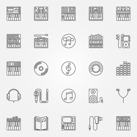 Synthesizer linear icons - vector set of synthesizer or midi keyboard thin line symbols. Music logo elements Vectores