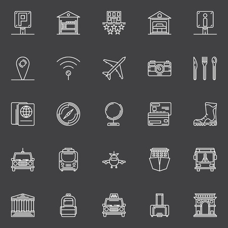 holiday house: Travel icons set - vector collection of tourism and traveling thin line symbols or logo elements
