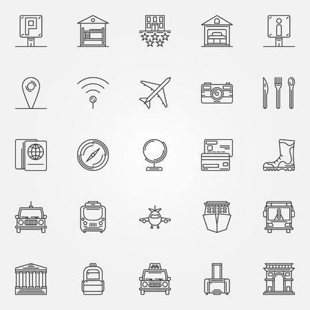 guest house: Travel linear icons set - vector tourism thin line symbols or logo elements
