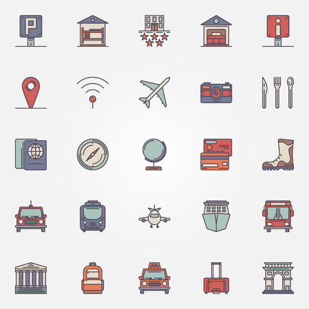 guest house: Traveling or travel colorful icons set - vector collection of flat tourism symbols or logo elements Illustration