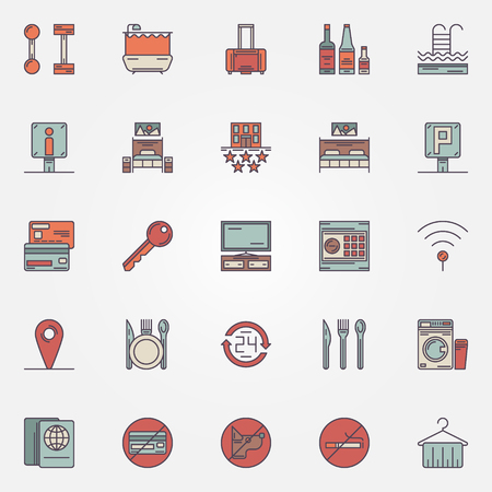 mini bar: Colorful hotel icons - vector collection of flat hotel or motel symbols and logo elements
