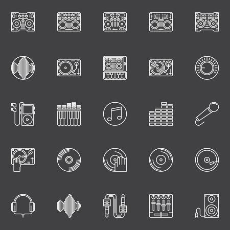 cd recorder: DJ icons or logo elements - vector set of DJ music symbols in thin line style on dark background Illustration