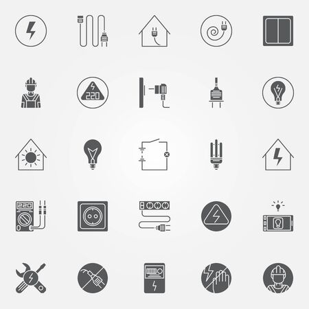 tester: Electricity icons set - vector set of electric symbols or signs