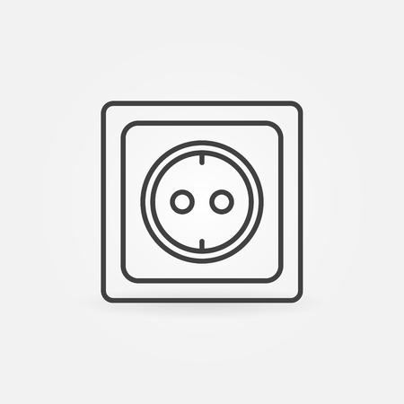 Europese stopcontact lineaire pictogram - vector dunne lijn socket symbool of logo