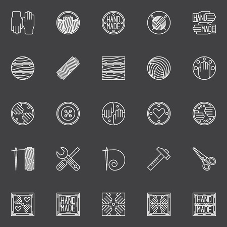 hand made: Hand made icons set. Vector collection of white handmade thin line crafting symbols or logo elements Vectores