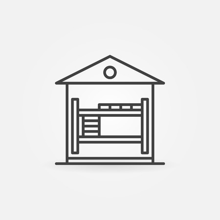 bunk: Hostel linear icon - vector house with bunk bed concept symbol or sleep logo element Illustration