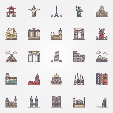 wonders: Landmark icons set - vector colorful travel symbol or signs