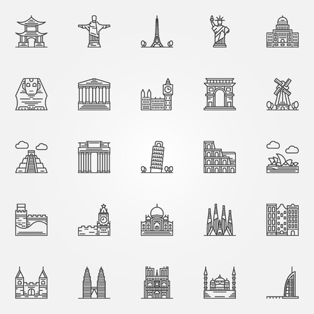 temple tower: Popular travel landmarks icons - vector set of thin line monuments symbols or logo elements
