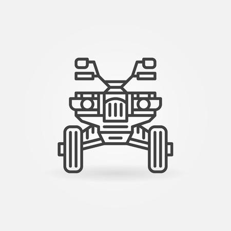 quad: Quad bike icon or logo - vector linear ATV front view sign or symbol