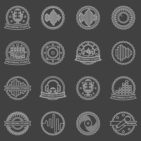 soundwave: Recording studio labels and badges - vector set of linear sound or music emblems and logo elements on dark background Vectores