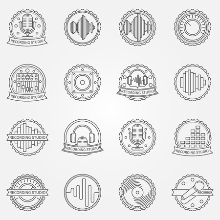 soundwave: Recording studio labels set - vector collection of badge, emblem of music studio symbols or logo elements in thin line style