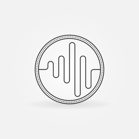 Sound logo or icon - vector sound wave symbol. Music minimal badge or label. Illustration
