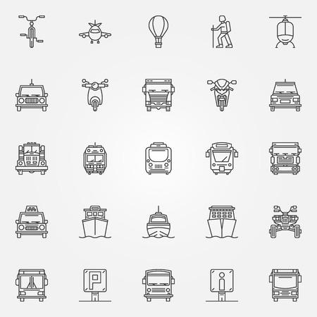 transportation icons: Transport linear icons - vector set of thin line transportation symbols or logo elements Illustration
