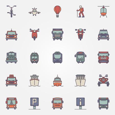railway transport: Transportation icons set - vector set of colorful transport flat symbols or logo elements