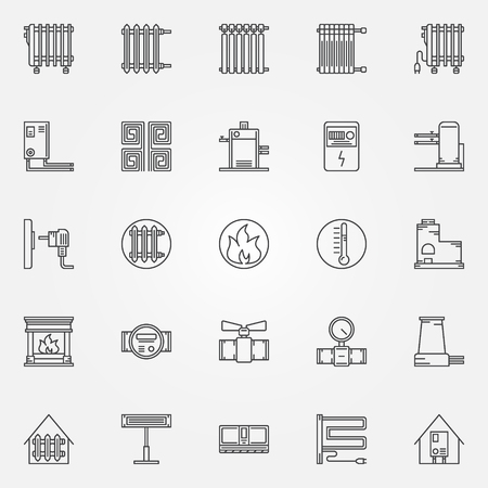 heat: Home heating icons set - vector collection of outline heating systems symbols or signs