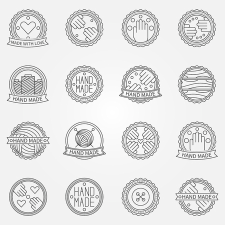 manually: Hand made linear labels or badges - vector set of thin line hands icons or logo elements