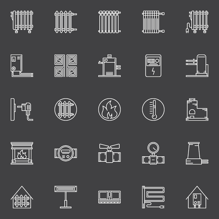 gas radiator: Heating icons - vector set of linear home heating symbols. Furnaces, boilers, electric space heaters signs.