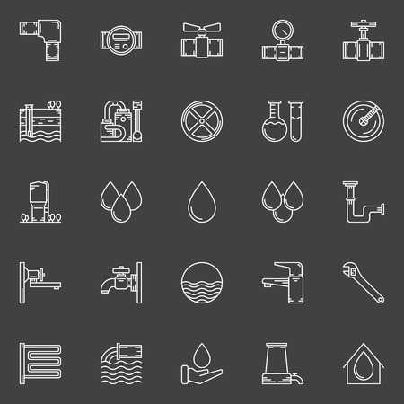 Water icons set - vector outline symbols of faucets, water drops, pipes and other water supply signs