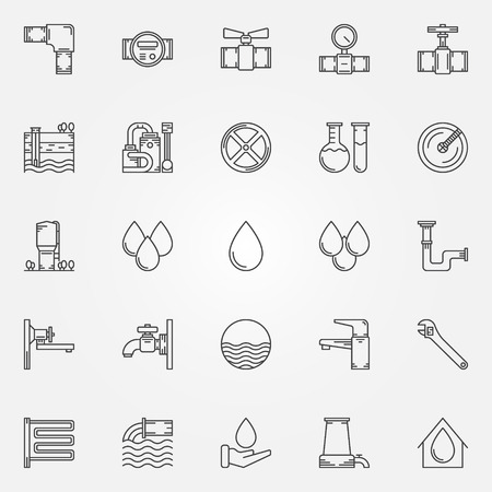 cañerías: Iconos de abastecimiento de agua - grifos vectoriales lineales, purificación de agua, símbolos de plomería o elementos logo