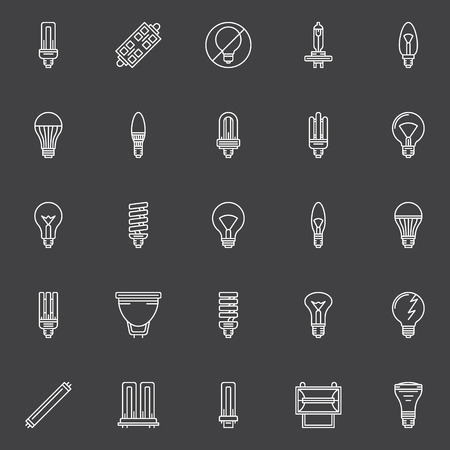 compact fluorescent lightbulb: Bulbs icons set - vector collection of halogen, led, CFL light bulbs symbols or signs