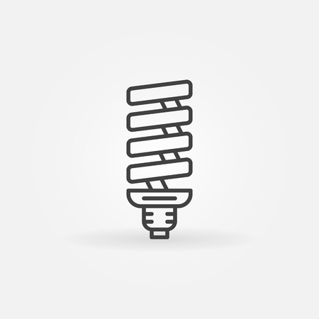 thin bulb: CFL bulb linear icon - vector thin line compact fluorescent lamp icon symbol or logo