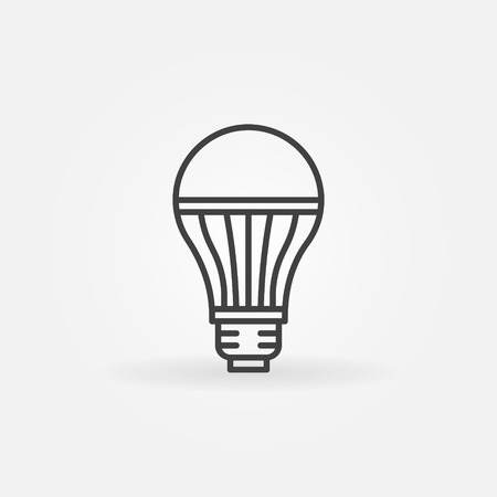 thin bulb: LED lightbulb icon - vector minimal thin line bulb sign