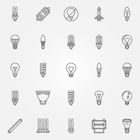 thin bulb: Light bulbs icons set - vector thin line bulb symbols or logo elements