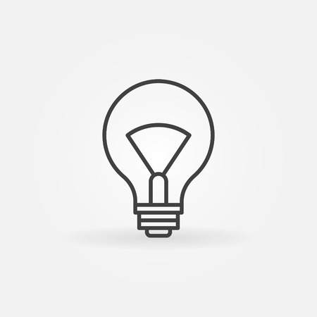 thin bulb: Lightbulb linear icon - vector thin line bulb symbol or logo