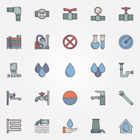 borehole: Water supply icons - vector set of faucet, pipe, valve, water drop, water purification symbols or logo elements for infographics