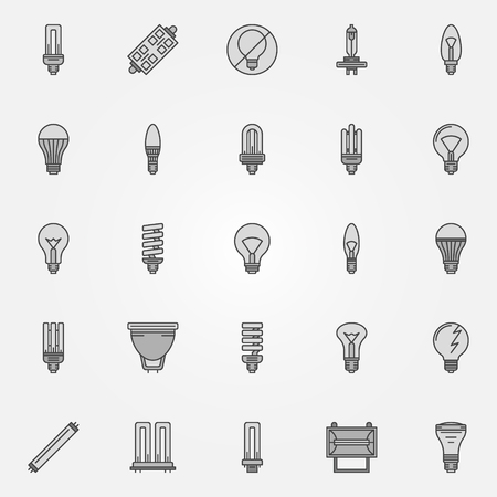 led: Monochrome bulb icons - vector collection of flat dark halogen, led, CFL light bulbs symbols or elements Illustration