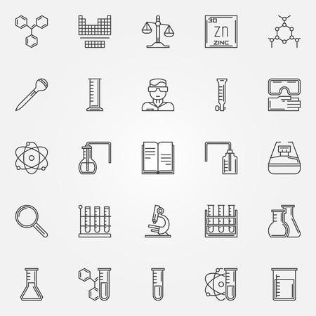 Chemie icons set - vector lineaire symbolen van reageerbuizen, microscoop, formule en andere wetenschappelijke en laboratorium werkruimte apparatuur