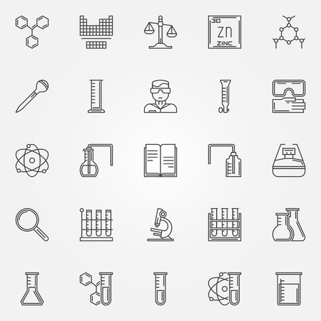 beakers: Chemistry icons set - vector linear symbols of test tubes, microscope, formula and other science and laboratory workspace equipment