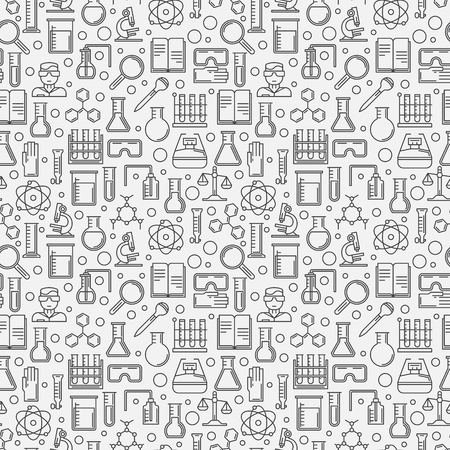 Chemistry seamless linear pattern - vector science texture or background