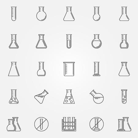 フラスコのアイコン - ベクトル線形研究所ガラスや化学試験管シンボルやロゴ要素設定薄い線のスタイルで  イラスト・ベクター素材