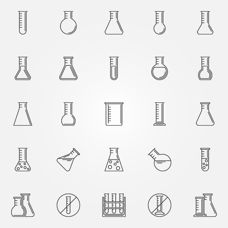 Flask icons set - vector linear laboratory glass or chemical test-tube symbol or logo element in thin line style