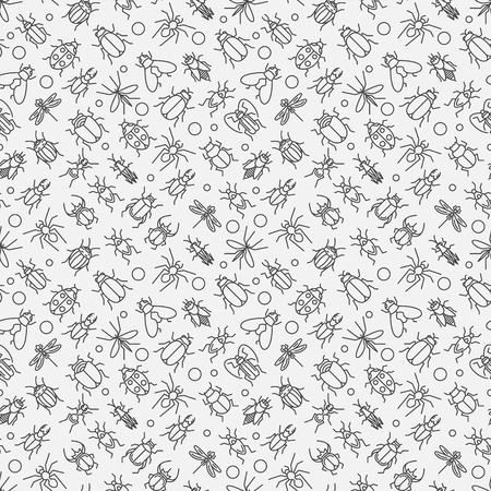 Insects linear pattern - vector seamless texture or background with bugs and beetles in thin line style Vectores