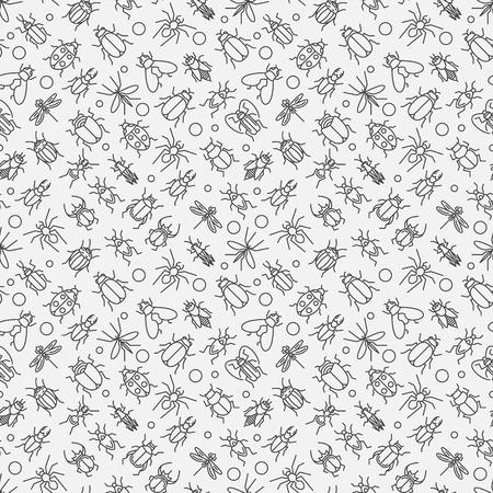 Insekten lineares Muster - Vektor nahtlose Textur oder Hintergrund mit Wanzen und Käfer in dünne Linie Stil
