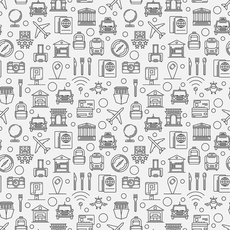 theather: Travel seamless pattern - vector tourism linear background or texture in thin line style Illustration