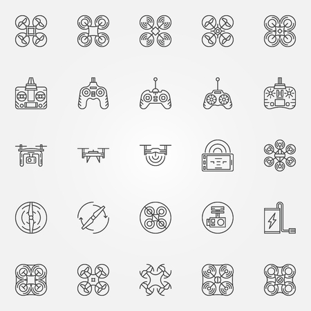 controll: Drone linear icons set - vector quadrocopter symbols or emblems in line style Illustration