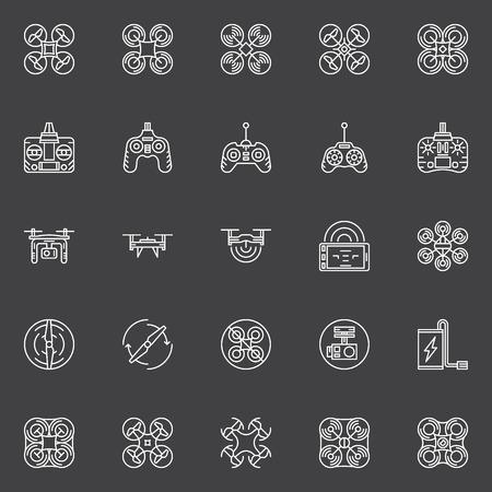 controll: Drone white icons set - vector linear quadrocopter symbols or logo elements on dark background