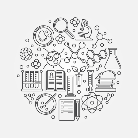 Biotechnology illustration - vector round outline education or science logo element
