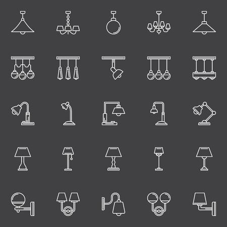 lamp outline: Lamp outline icons - vector set of white symbols or signs on dark background Illustration
