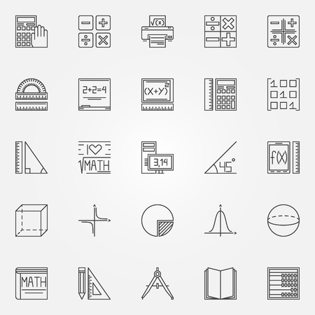 simbolos matematicos: Iconos de la matemáticas conjunto - vector de geometría, álgebra y matemáticas símbolos o elementos de la insignia en el estilo de línea delgada