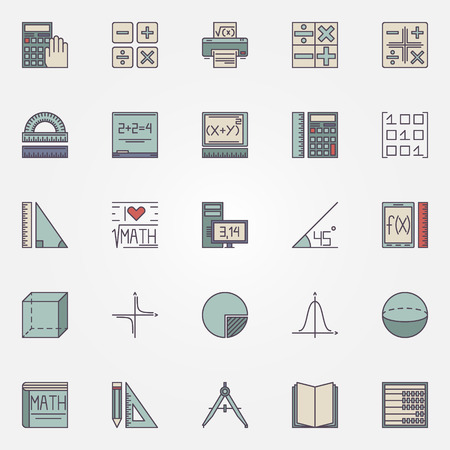 Math icons - vector geometric shapes and other education mathematics signs or design elements