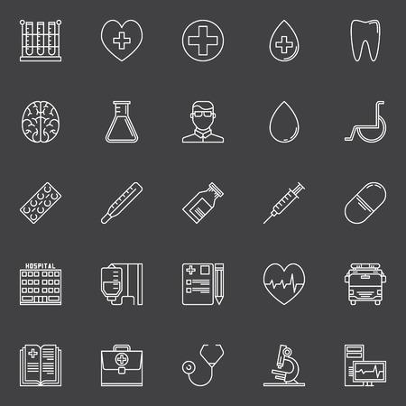 heath: Medical line icons set - vector linear heath care signs on dark background Illustration