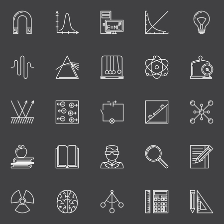 electrics: Physics and science icons - vector set of linear education symbols and signs on dark background