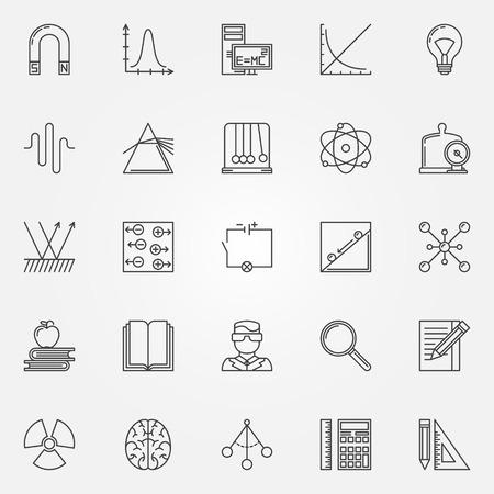 Iconos de la física set - símbolos de la ciencia y de línea vector de elementos de la insignia Ilustración de vector